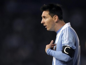 Messi of Argentina argues during a 2014 World Cup qualifying soccer match against Colombia in Buenos Aires